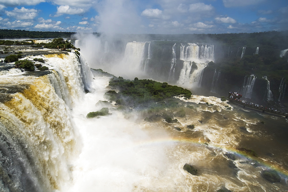Rainbow By Public Walkway At Iguazu Falls, Parana, Brazil