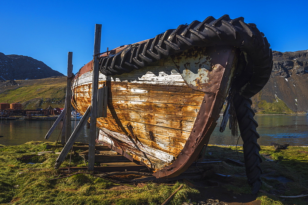 Abandoned Old Rowing Boat On Wooden Blocks, Antarctica