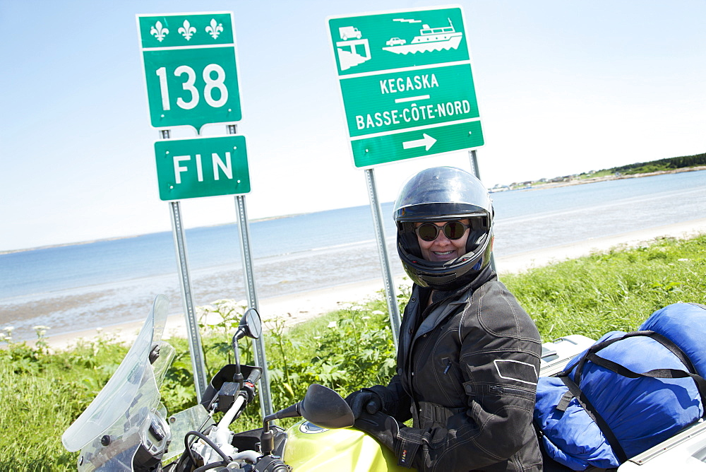 The End Of Road 138 On Motorcycle, Kagaska, Quebec, Canada