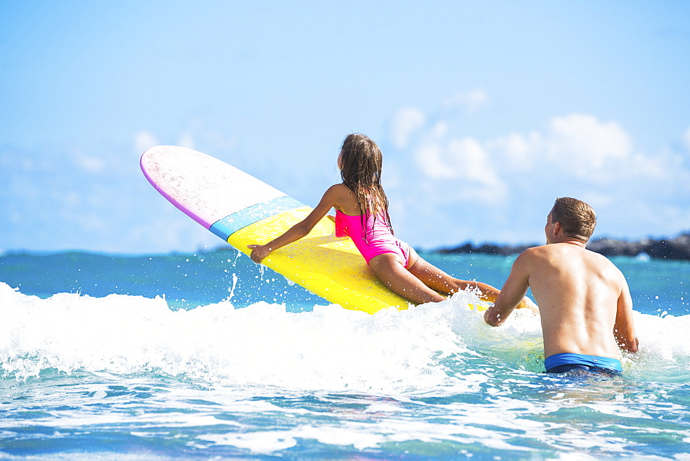 Father And Daughter Surfing Together, Summer Lifestyle Family Concept