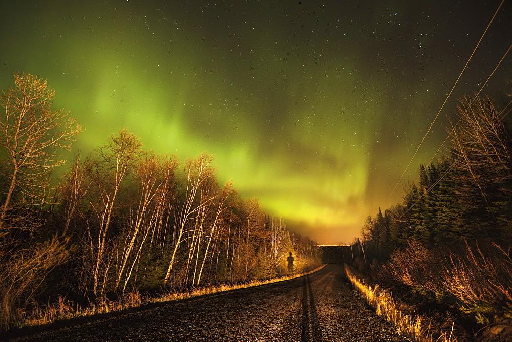 Aurora Borealis Over Road, Thunder Bay, Ontario, Canada