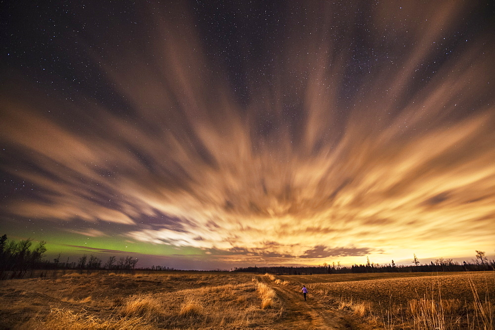 Night Sky With Aurora Borealis, Thunder Bay, Ontario, Canada