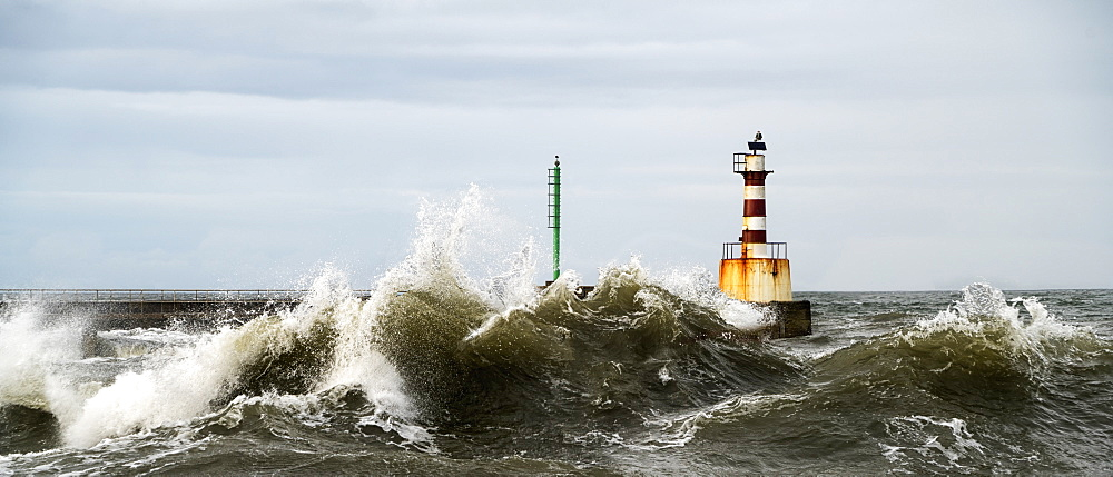 Lighthouse And Splashing Waves, Amble, Northumberland, England