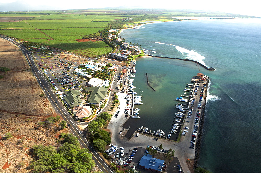 Aerial View Of Ma'alaea Harbor, Whale Watching Charter Boats, Maui Ocean Center Aquarium, Sugar Beach And Sugar Cane Fields In The Background, Maui, Hawaii, United States Of America