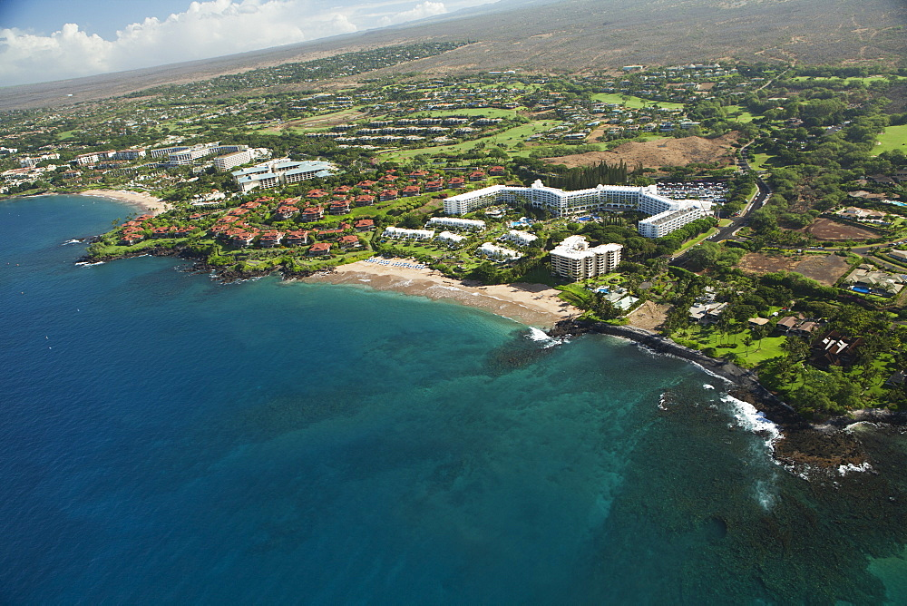 Aerial View Of The Fairmont Hotel And Kea Lani Resort, Polo Beach, Wailea, Maui, Hawaii, United States Of America