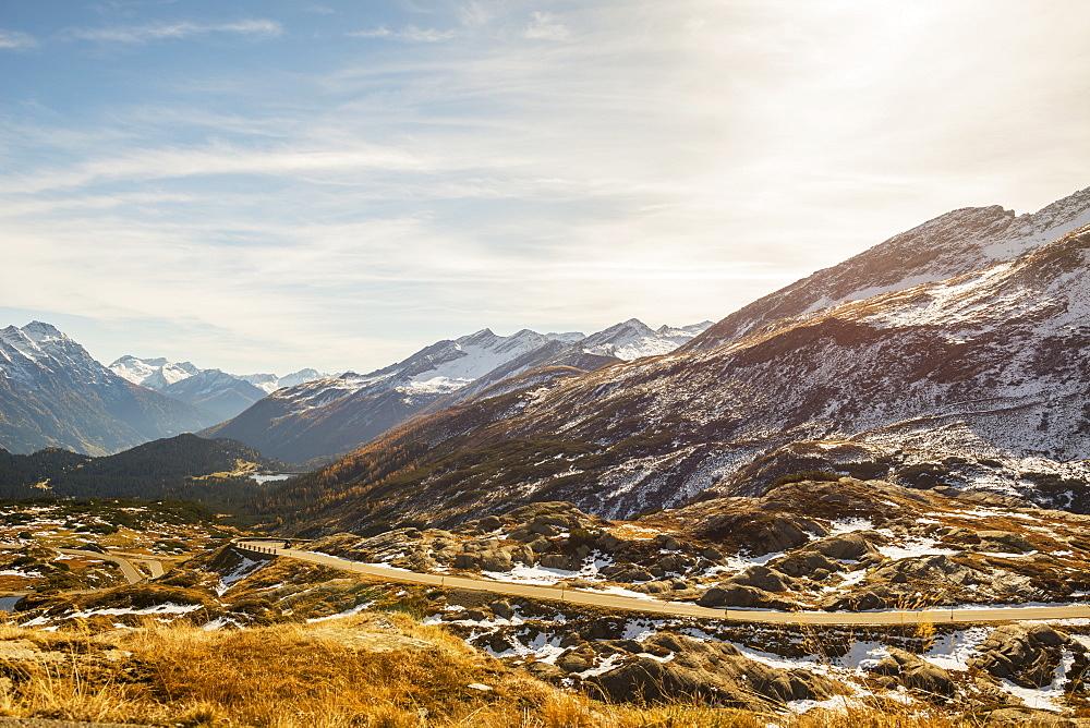 Mountain Road In The Swiss Alps, San Bernardino, Grisons, Switzerland