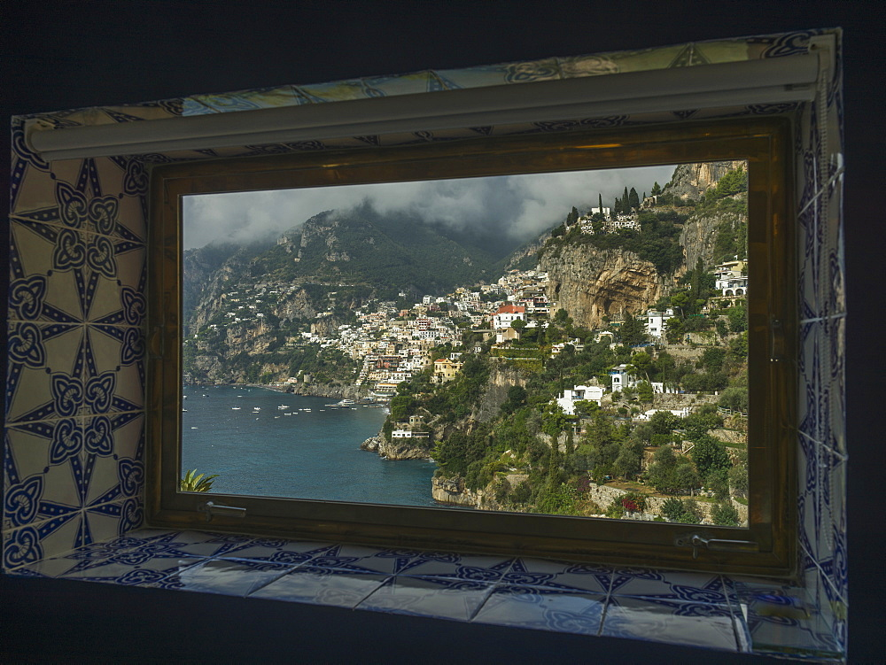 View Out A Tile Trimmed Window Of The Coastline, Amalfi, Italy