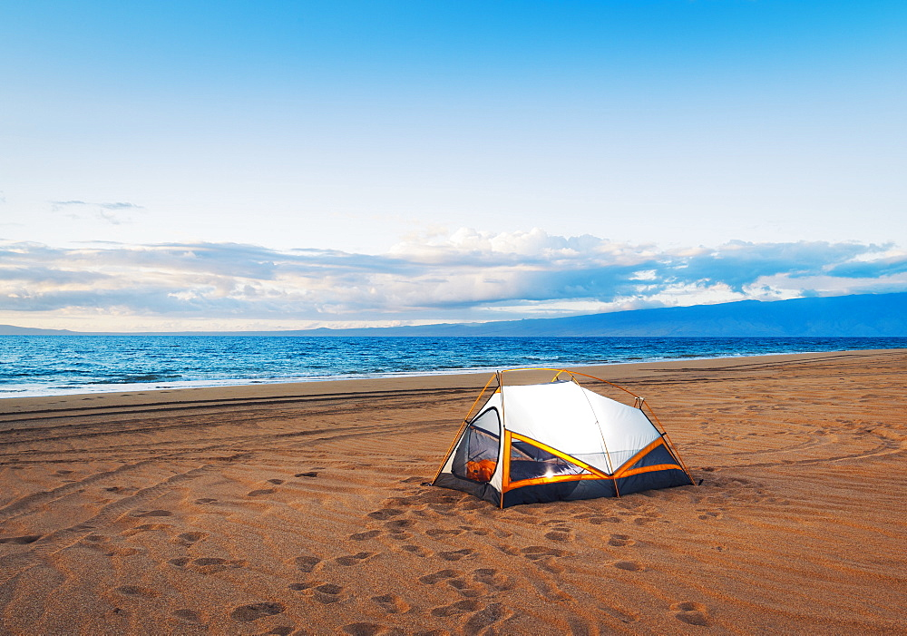Camping On The Beach At Sunset
