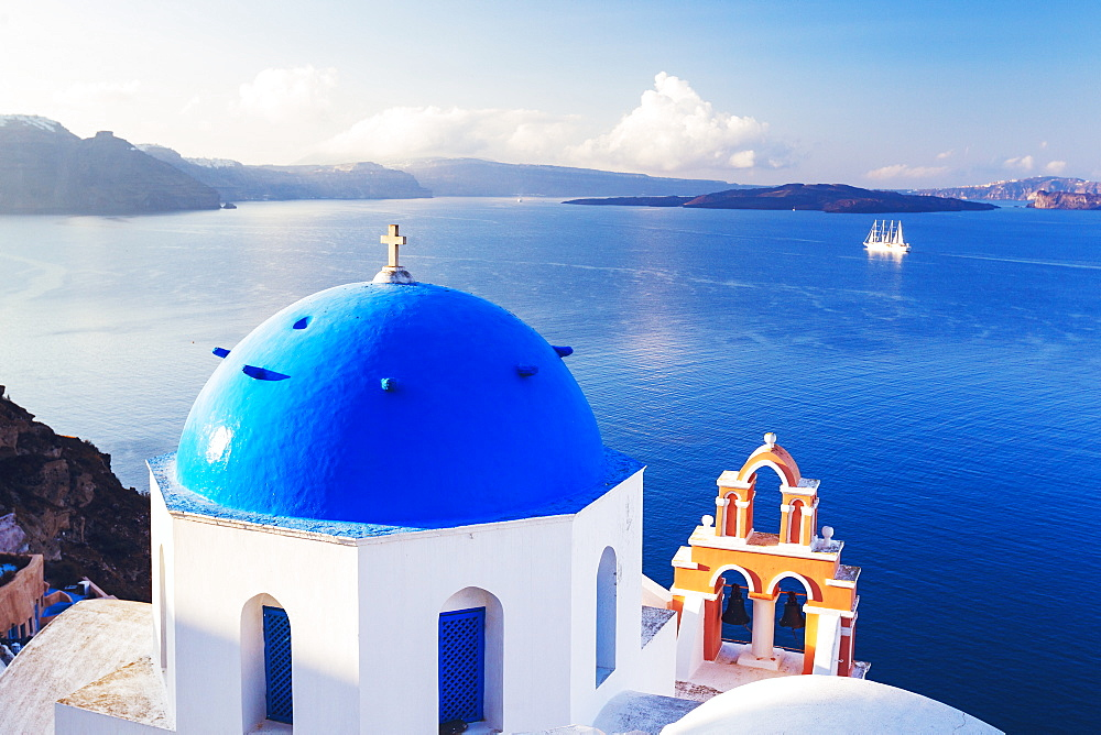 Church Bell Tower Above Blue Sea, Santorini Island, Greece