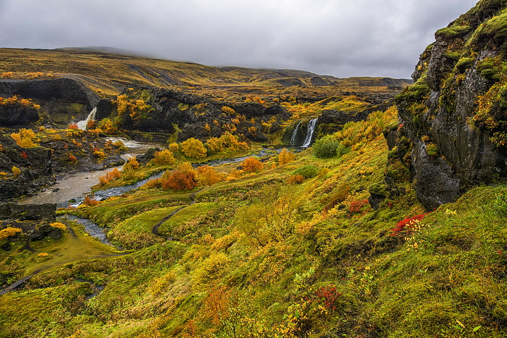 A Group Of Waterfalls Collectively Known As Gjain, Iceland - 1116-45424