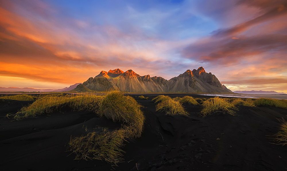 Vestrahorn At Sunrise, Near The Town Of Hofn In Southeastern Iceland, Iceland