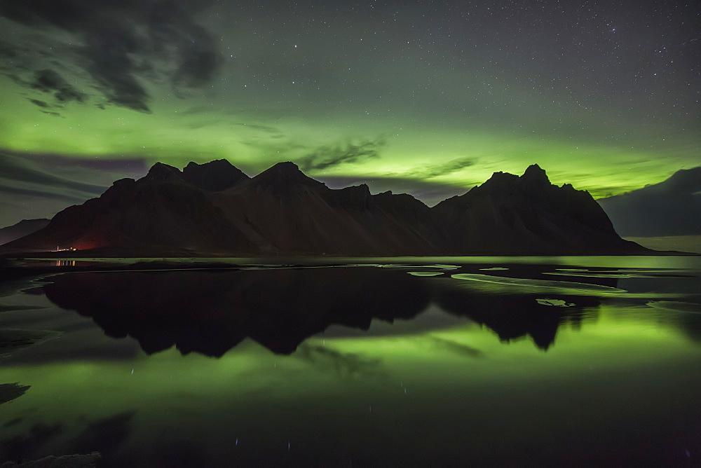 Northern Lights Over Vestrahorn, Southern Iceland, Vestrahorn, Iceland