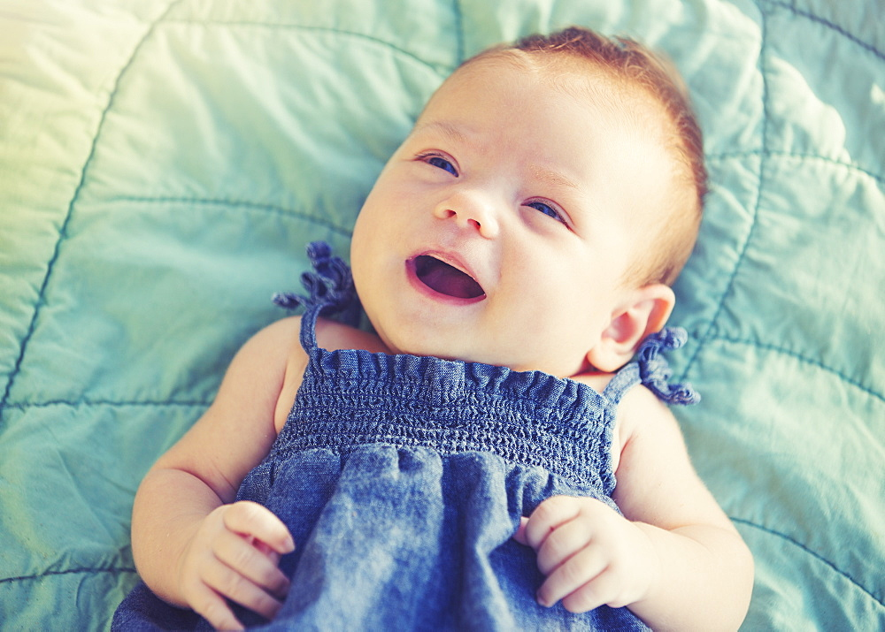 Cute Newborn Baby Girl Smiling - 1116-45491