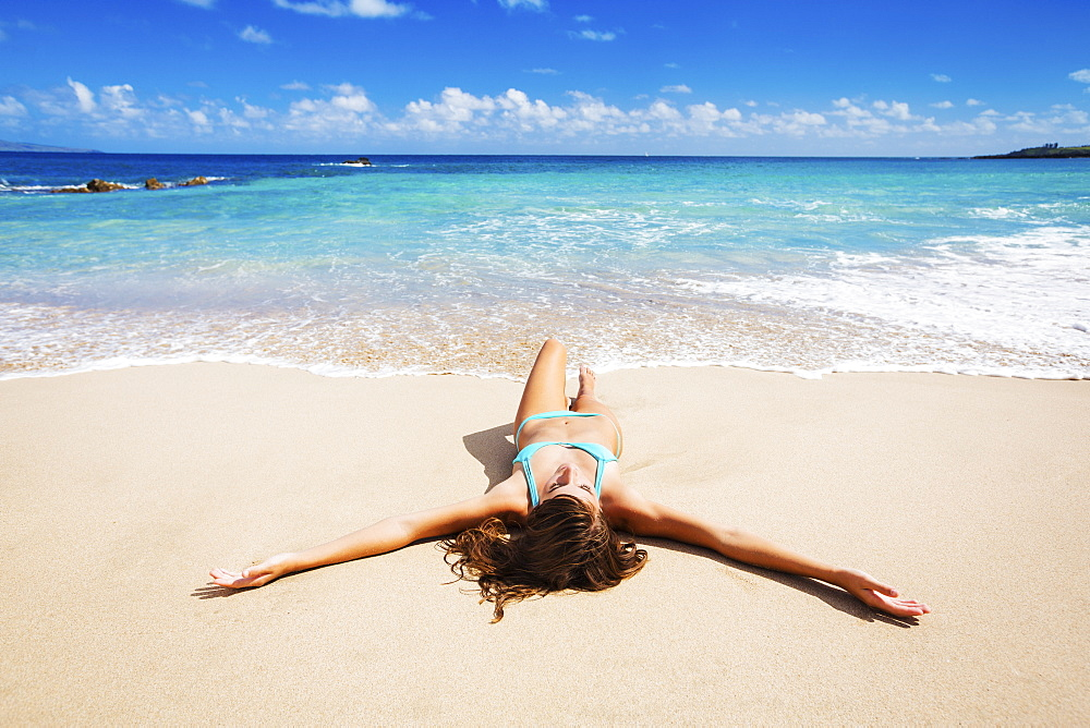 Attractive Sexy Woman Relaxing On Beautiful Tropical Beach