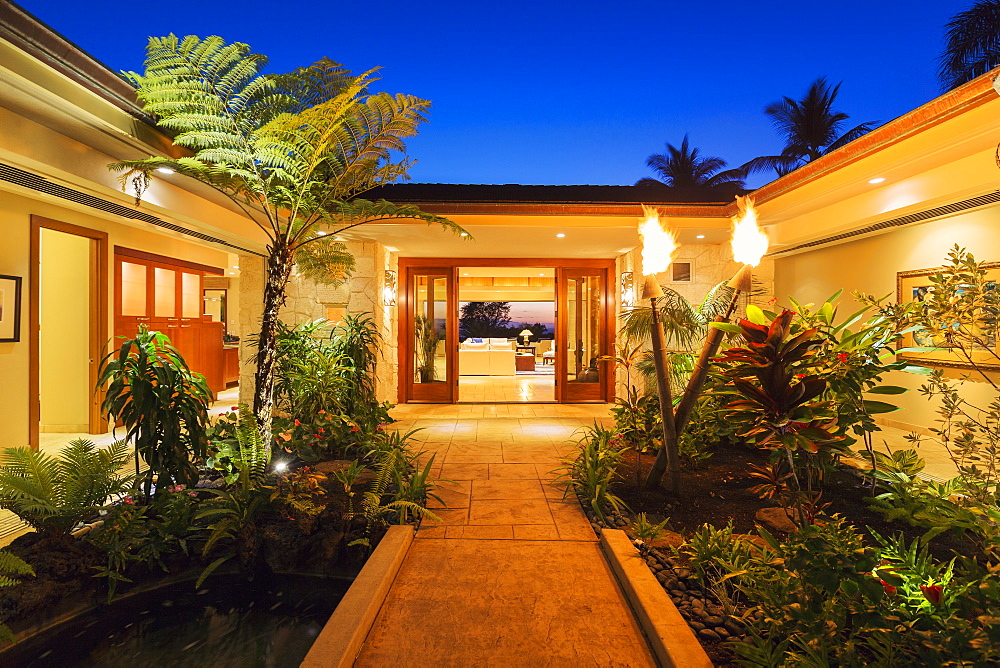 Beautiful Garden Entrance To Luxury Home