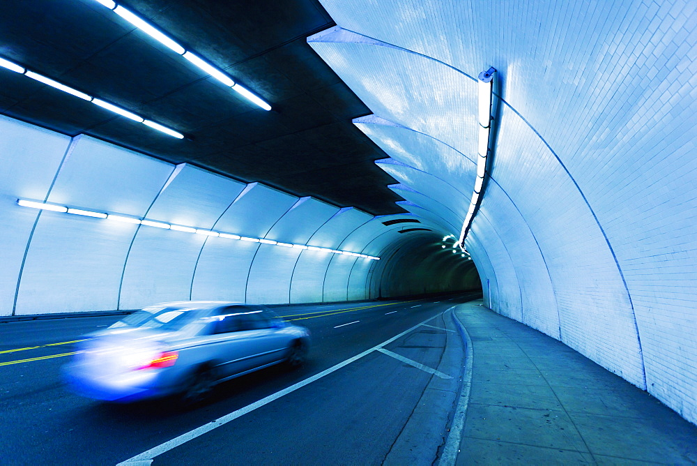 Urban Tunnel, Car Moving With Motion Blur