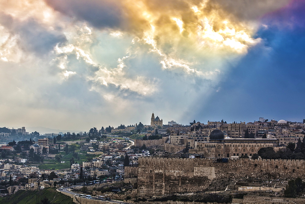 Golden Clouds Over The Cityscape Of Jerusalem, Jerusalem, Israel