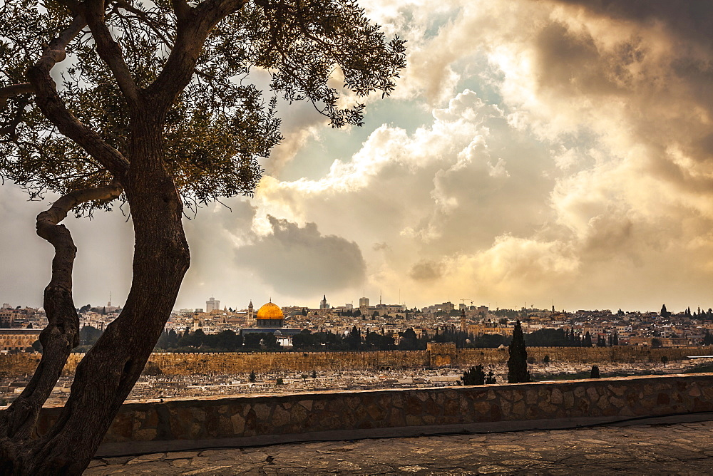 The Spectacular View Looking Across From The Mount Of Olives Toward The Eastern Gate Of The Old City Of Jerusalem, Taken From The Dominus Flevit Church (Built On The Traditional Spot Where Jesus Wept Over The City), Jerusalem, Israel