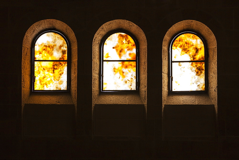 Three Arched Windows In A Church, Tabgha, Israel