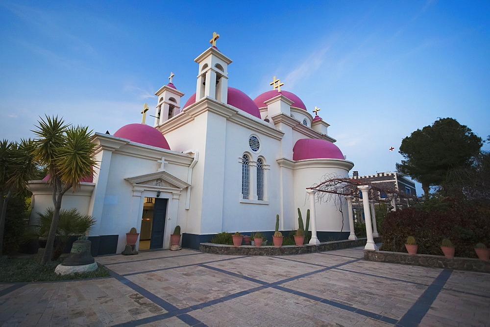 Greek Orthodox Church With Pink Domes And Gold Crosses, Capernaum, Israel