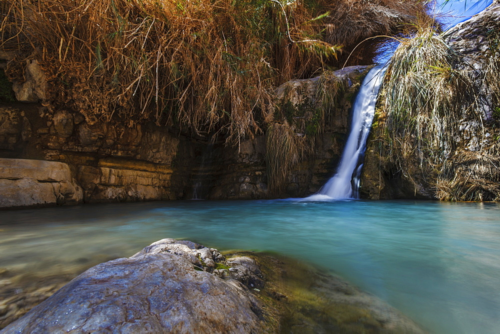 David And His Men Stayed In Ein Gedi And Certainly Enjoyed The Fresh Water Falling From The Desert Plateau Above. There Are Several Waterfalls Of Differing Sizes That Make There Way Down To The Dead Sea Below, Ein Gedi, Israel