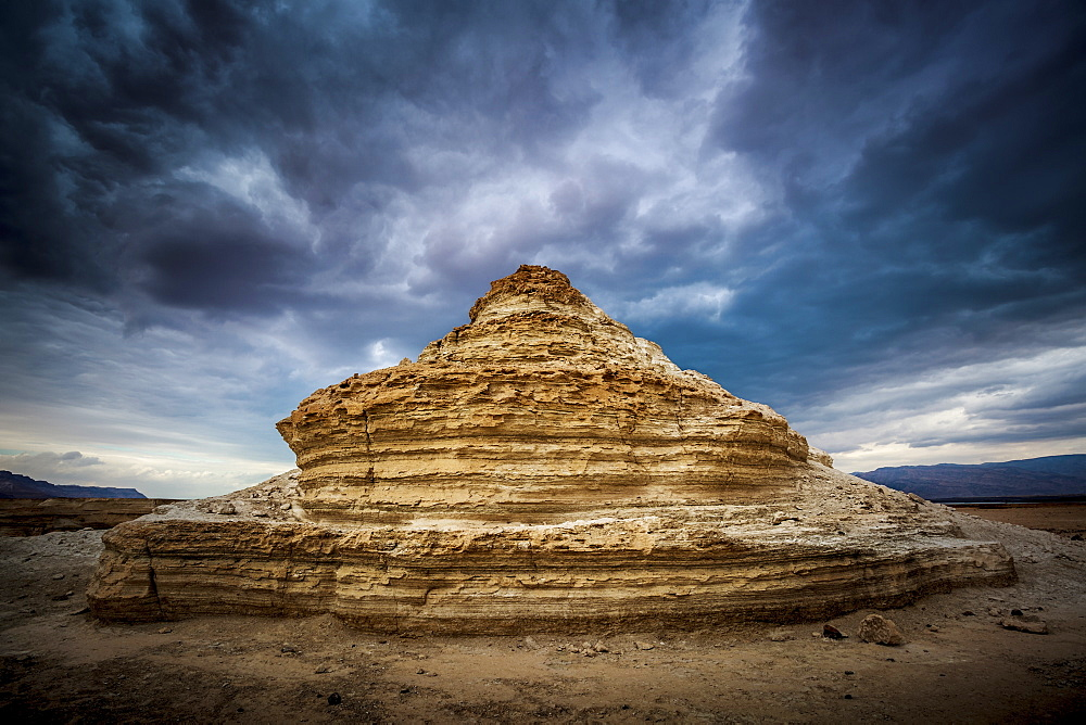 A Rock Formation In The Wilderness Located In The Jordan Valley Near The Dead Sea, Israel