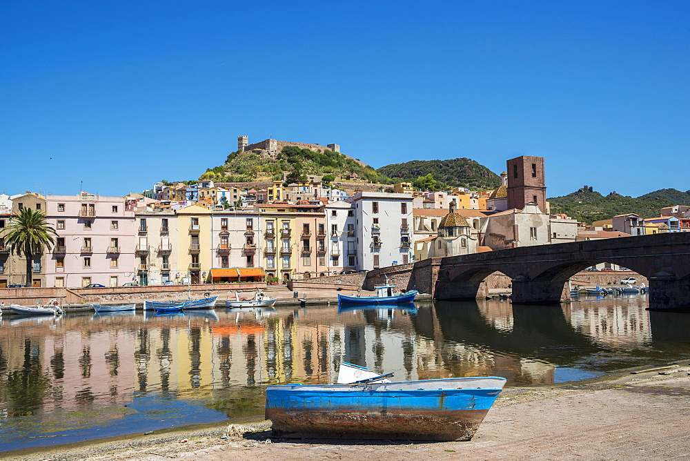 Bosa And Serravalle's Castle As Seen From The River Temo, Sardinia, Italy