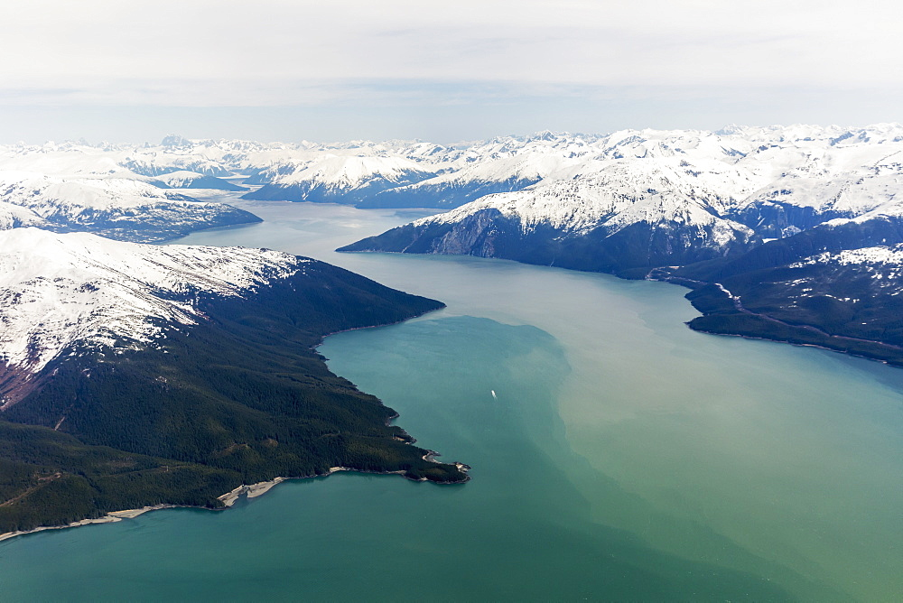 Aerial View Of A Glacier Fjord In The Inside Passage, And Snow Capped Peaks, Wrangell, Southeast Alaska, USA, Spring