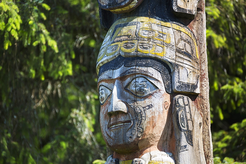Detail Of A Human Figure Carved Into A Totem Pole, Totem Bight State Historical Park, Ketchikan, Southeast Alaska, USA, Spring
