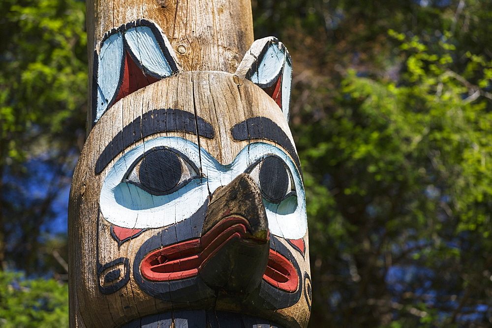 Detail Of A Raven Figure Carved Into A Totem Pole, Totem Bight State Historical Park, Ketchikan, Southeast Alaska, USA, Spring