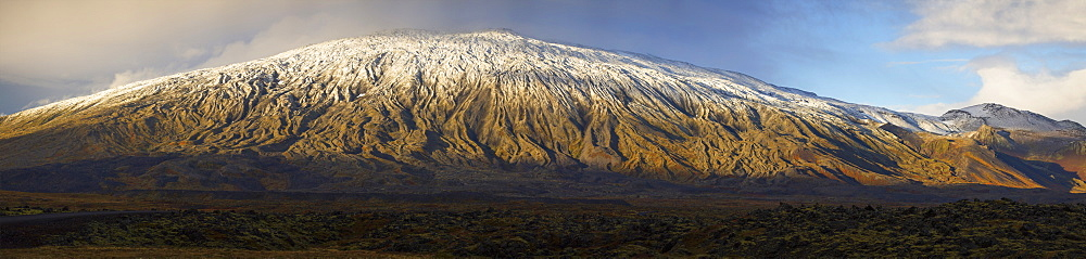 Panoramic View Of The Snaefellsjokull Volcano On The Western Tip Of The Snaefellsness Peninsula, Iceland