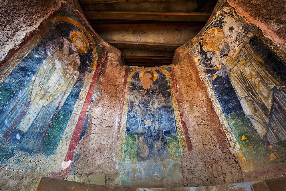 Three Panels Of A Fresco In A Church, Ephesus, Turkey