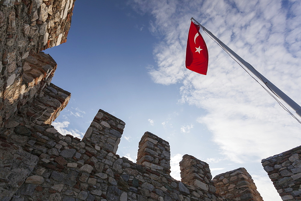Selcuk Castle And The Turkish Flag, Ephesus, Turkey