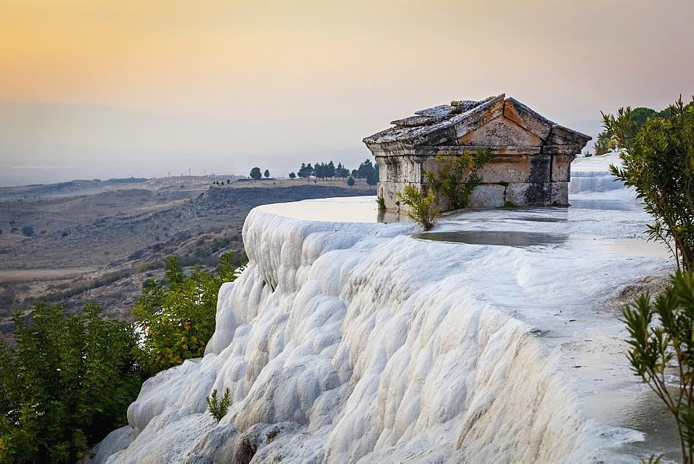 Tomb Submerged In A Travertine Pool In Hierapolis, Pamukkale, Turkey