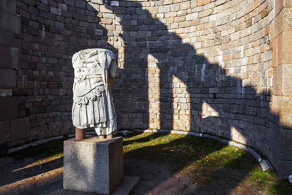 Statue Of The Headless Centurion At The Ruins Of The Temple Of Trajan, Pergamum, Turkey