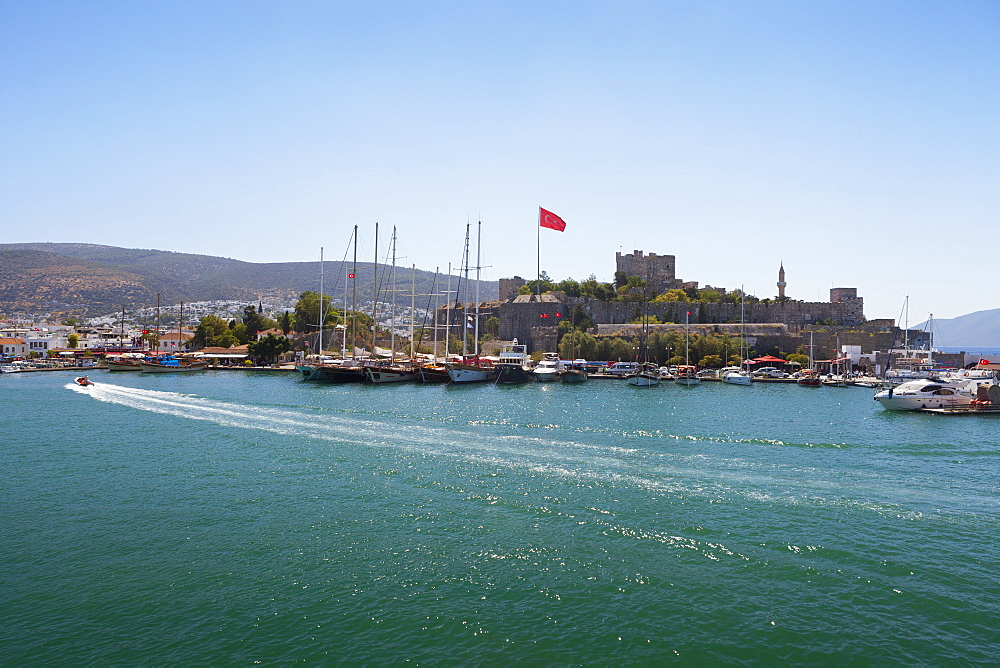 Boats In The Port And Turkish Flag, Bodrum, Turkey