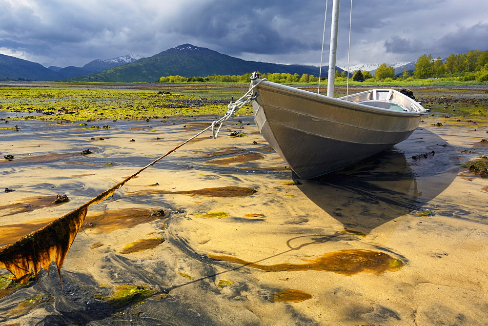 Aluminum Skiff Settles In Sand At Low Tide In Womens' Bay, Kodiak, Alaska