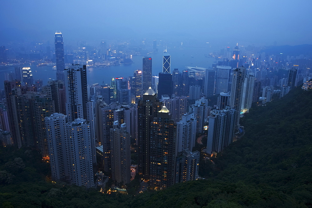 Victoria Harbour At Dusk From The Peak, Hong Kong, China