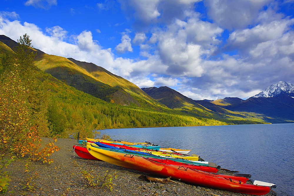 Kayaks On The Shore Of Eklutna Lake In Autumn, Chugach State Park, South-Central Alaska