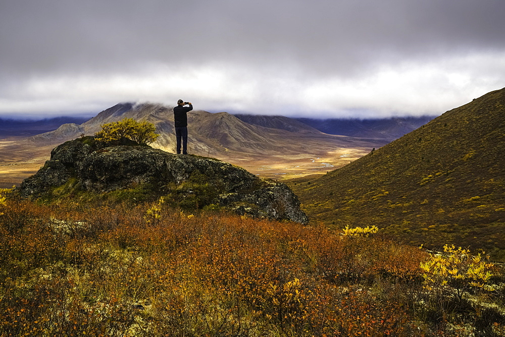 Man Taking Photos On A Smart Phone, Dempster Highway, Yukon, Canada