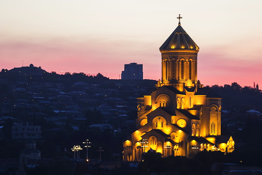 Holy Trinity Cathedral Of Tbilisi (Sameba) At Dawn, Tbilisi, Georgia