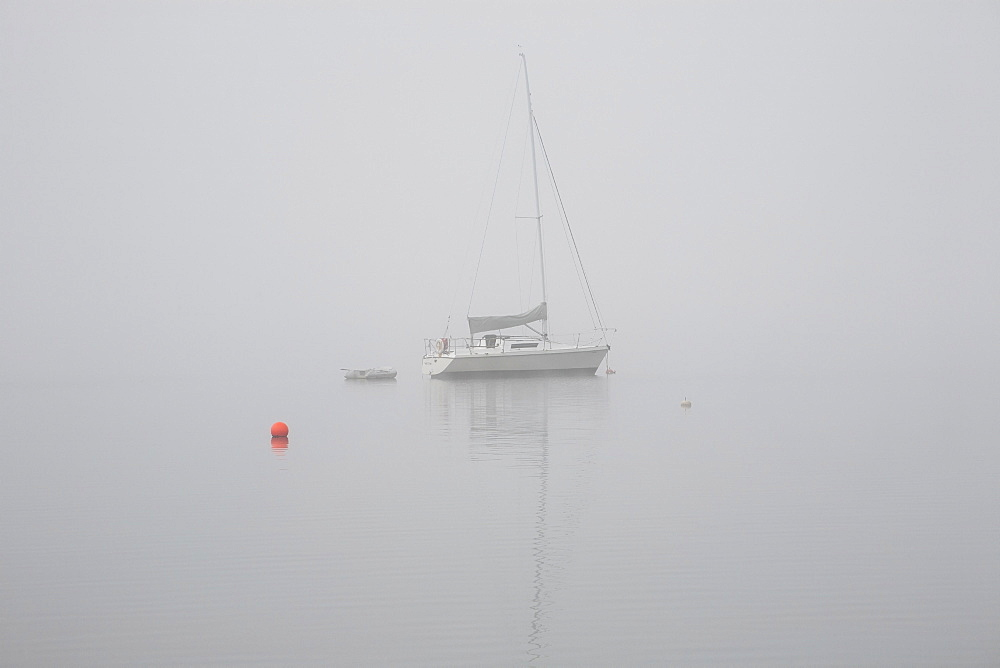 Sailboat Moored In The Fog, Magog, Quebec, Canada