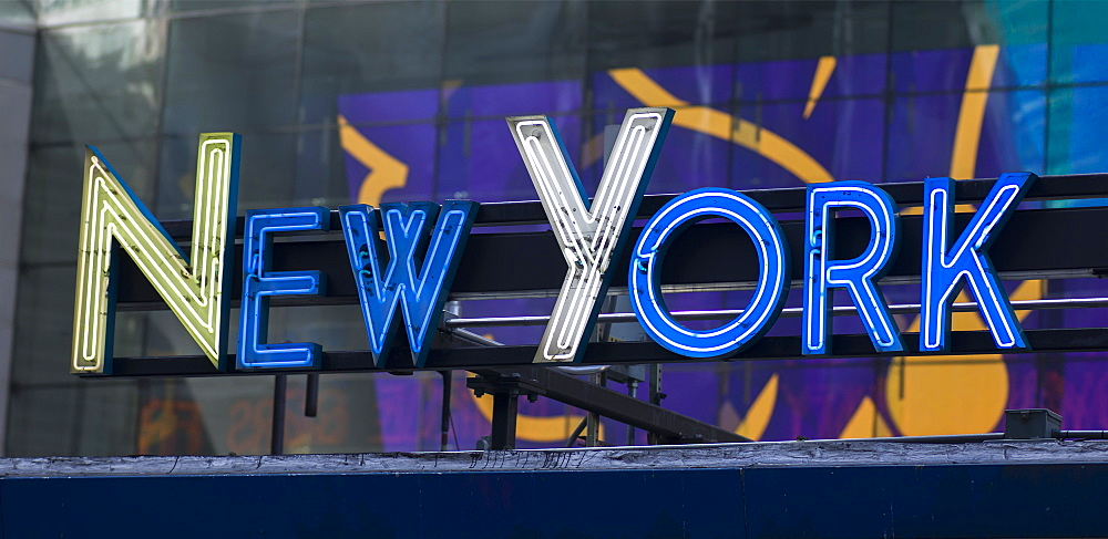 Neon Sign For New York In Times Square, New York City, New York, United States Of America