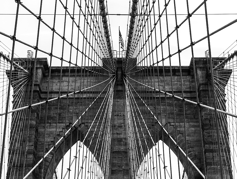 Grid Pattern Of Supports On The Brooklyn Bridge, New York City, New York, United States Of America