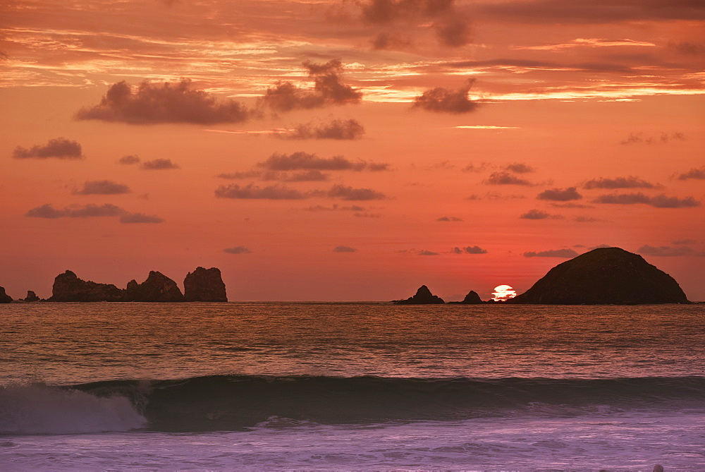 The End To Another Day In Paradise With A Wonderful Sunset Behind The Islands At Ixtapa, Ixtapa, Mexico