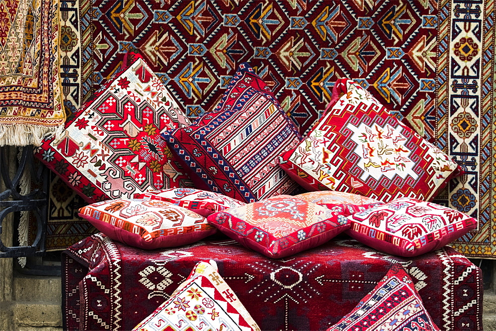 Cushions And Carpets For Sale In A Souvenir Store, Baku, Azerbaijan