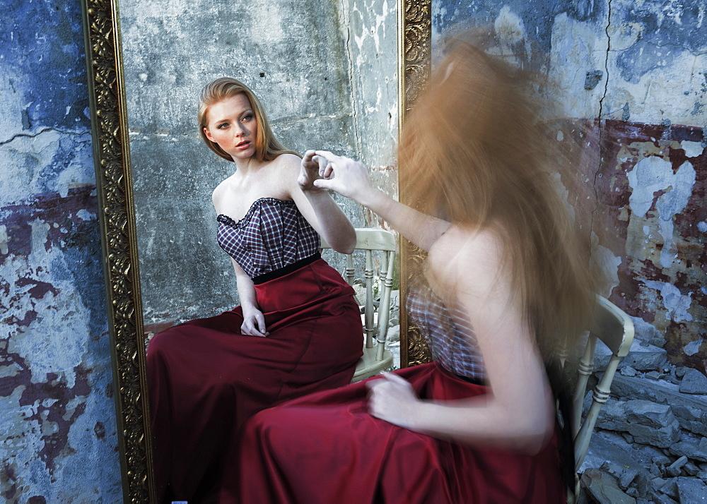 Woman And Reflection In Mirror, Tarifa, Cadiz, Costa De La Luz, Andalusia, Spain
