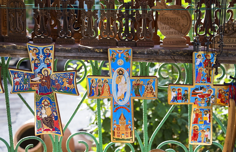 Painted Crosses For Sale By The Sanahin Monastery, Lori Province, Armenia
