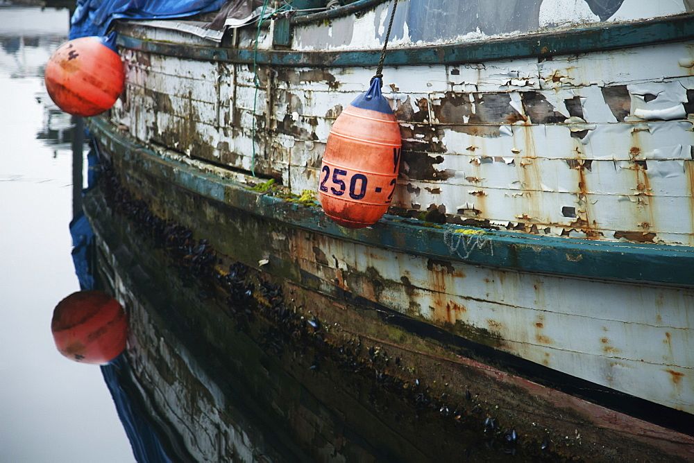 Rustic Commercial Fishing Boat With Buoys, Pelican, Chichagof Island, Tongass National Forest, Southeast Alaska, USA