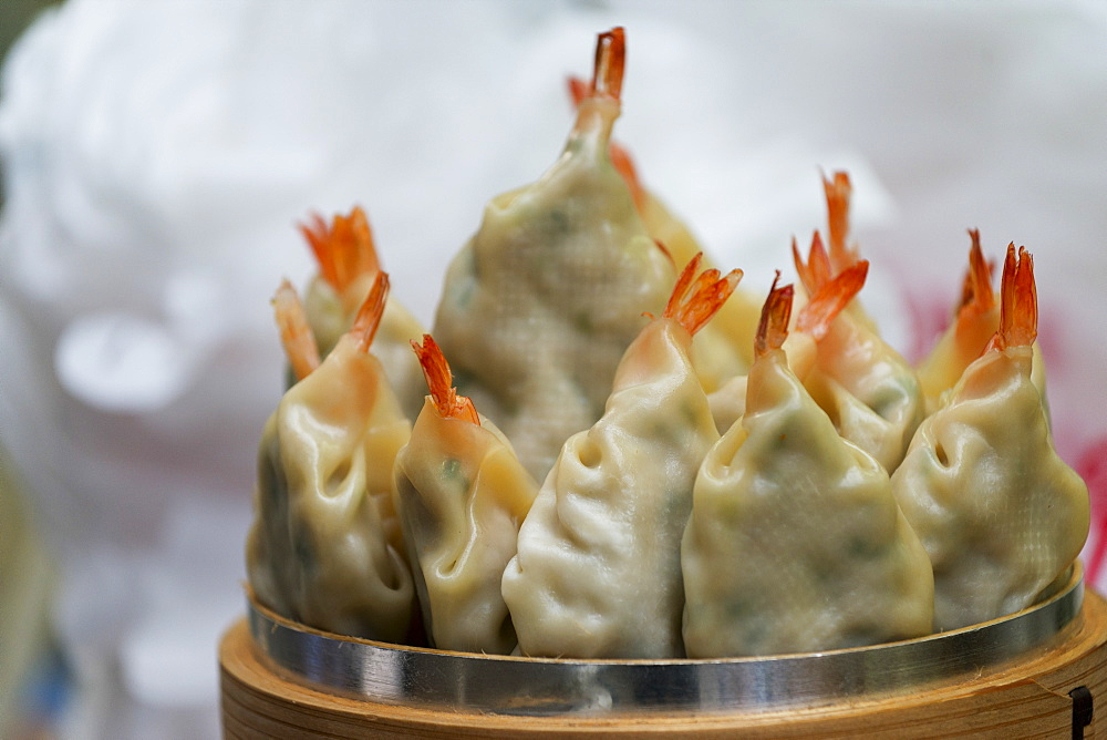 Close Up Of Shrimp Filled Dumplings, Seoul, South Korea